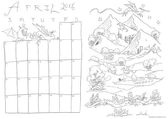 April Calendar - lines