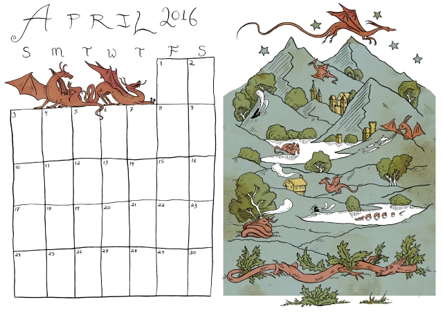 April Calendar - coloured