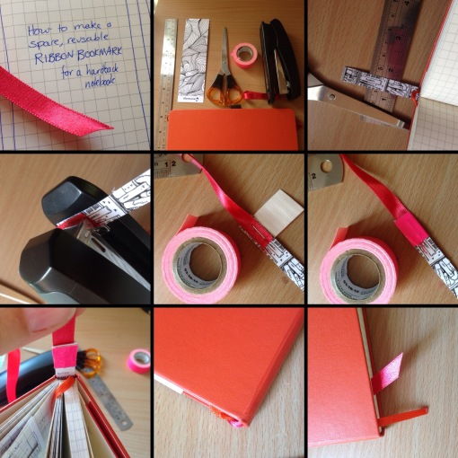 How to make a spare ribbon bookmark for your journal for How to tie a ribbon on a bookmark
