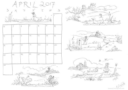 April Calendar Lines