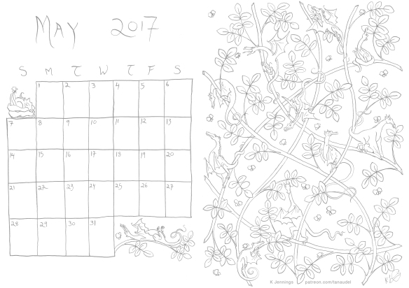 May 2017 Calendar - Lines
