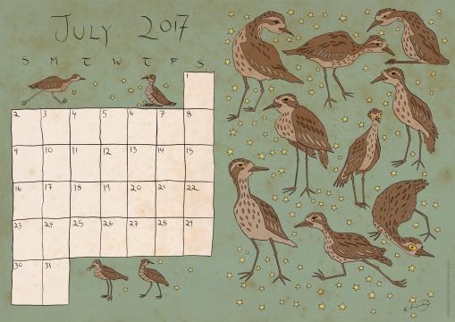 July calendar - colour