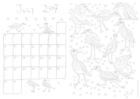 July calendar - lines