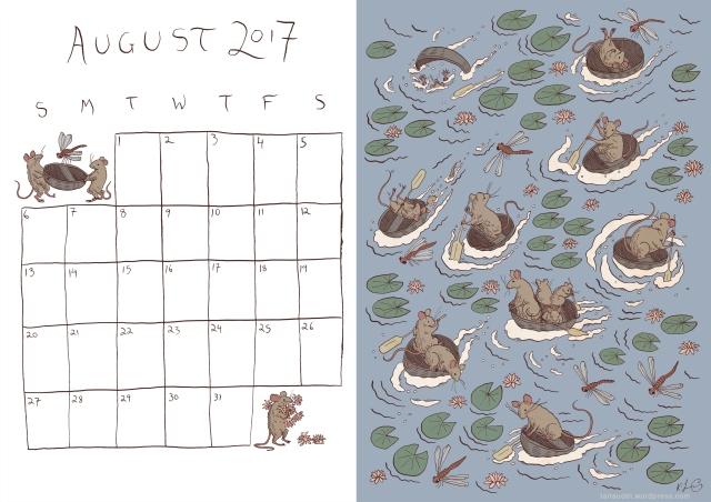 August Calendar Colour