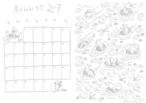 August Calendar Lines