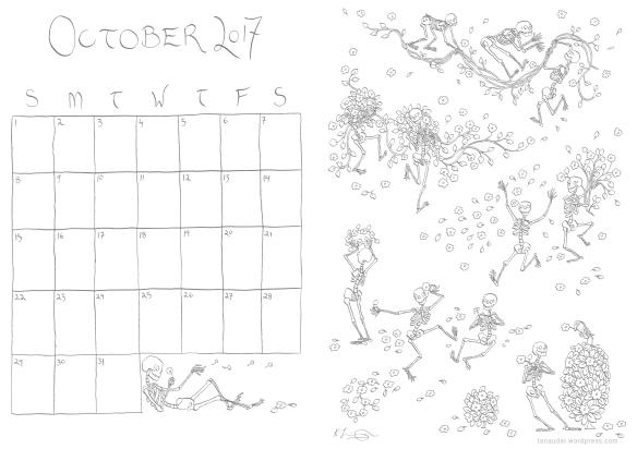 October Calendar - Lines