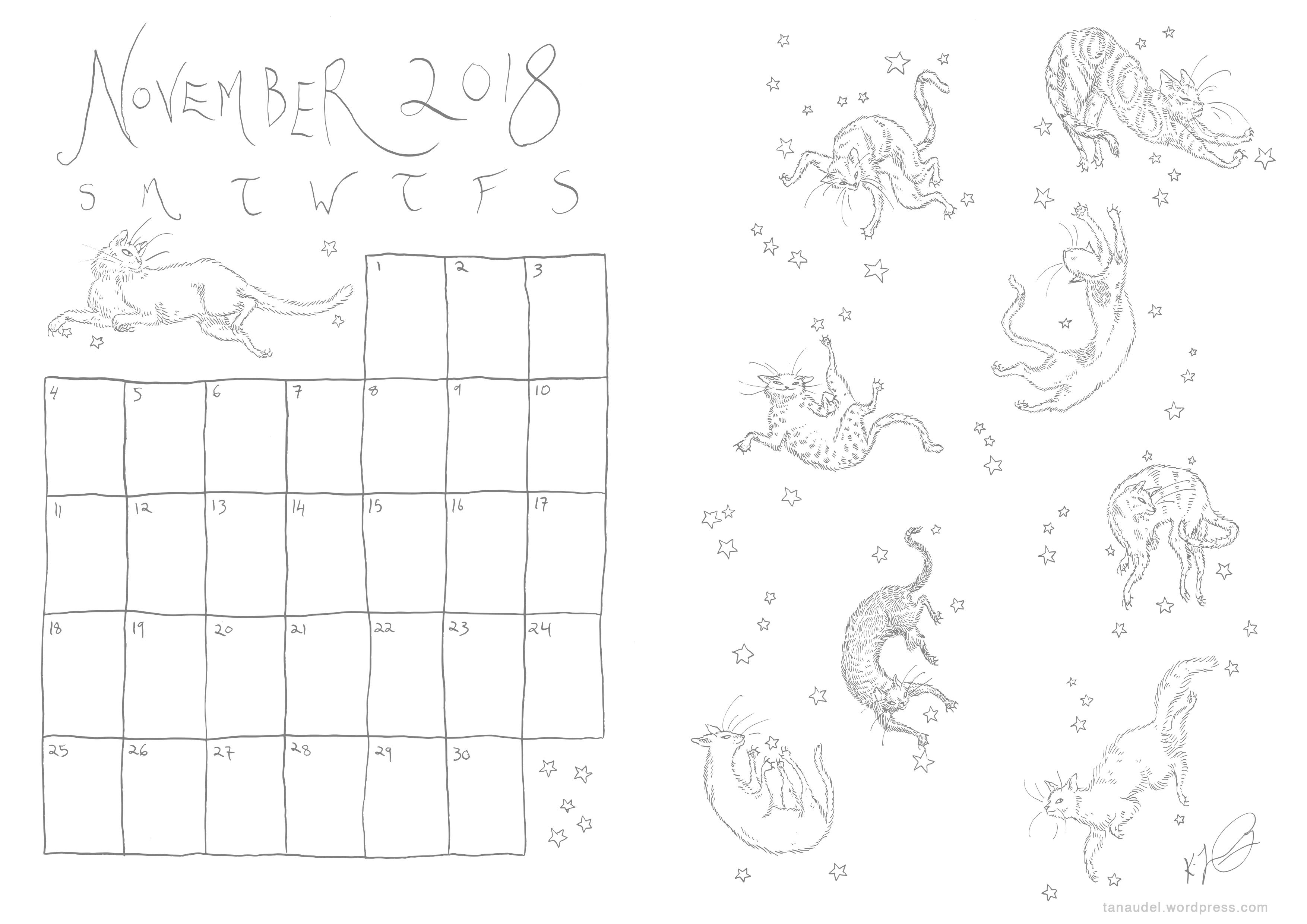 November Calendar Lines