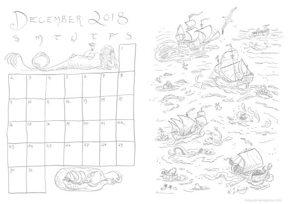 December Calendar Lines