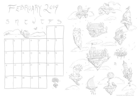 february calendar lines