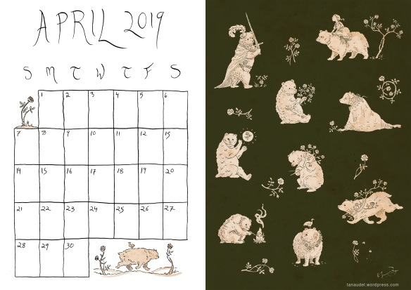 April Calendar-Colour-Green