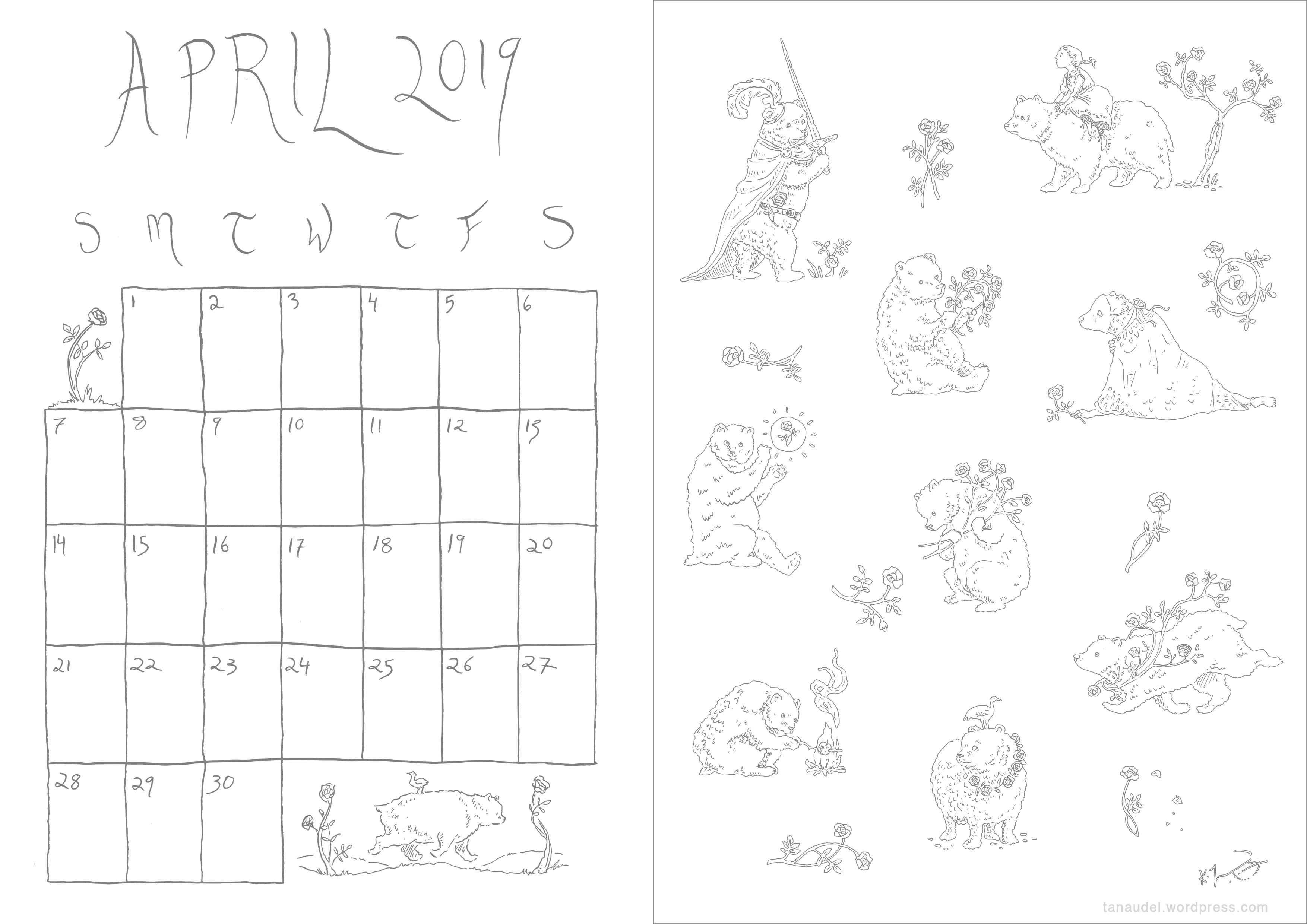April Calendar-Lines