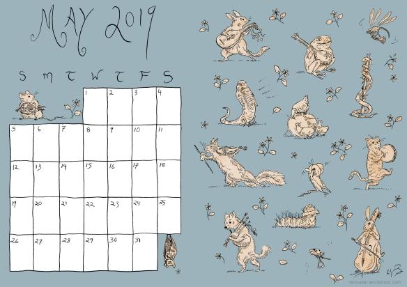 May Calendar - Colour Blue
