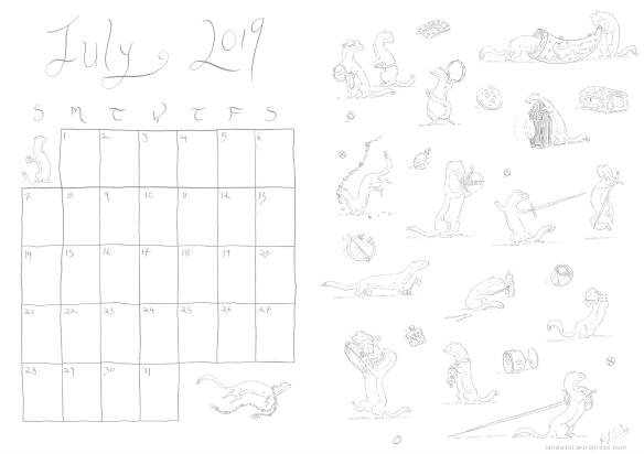 July Calendar Lines