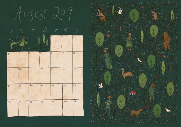 August Calendar - Colour - green-web
