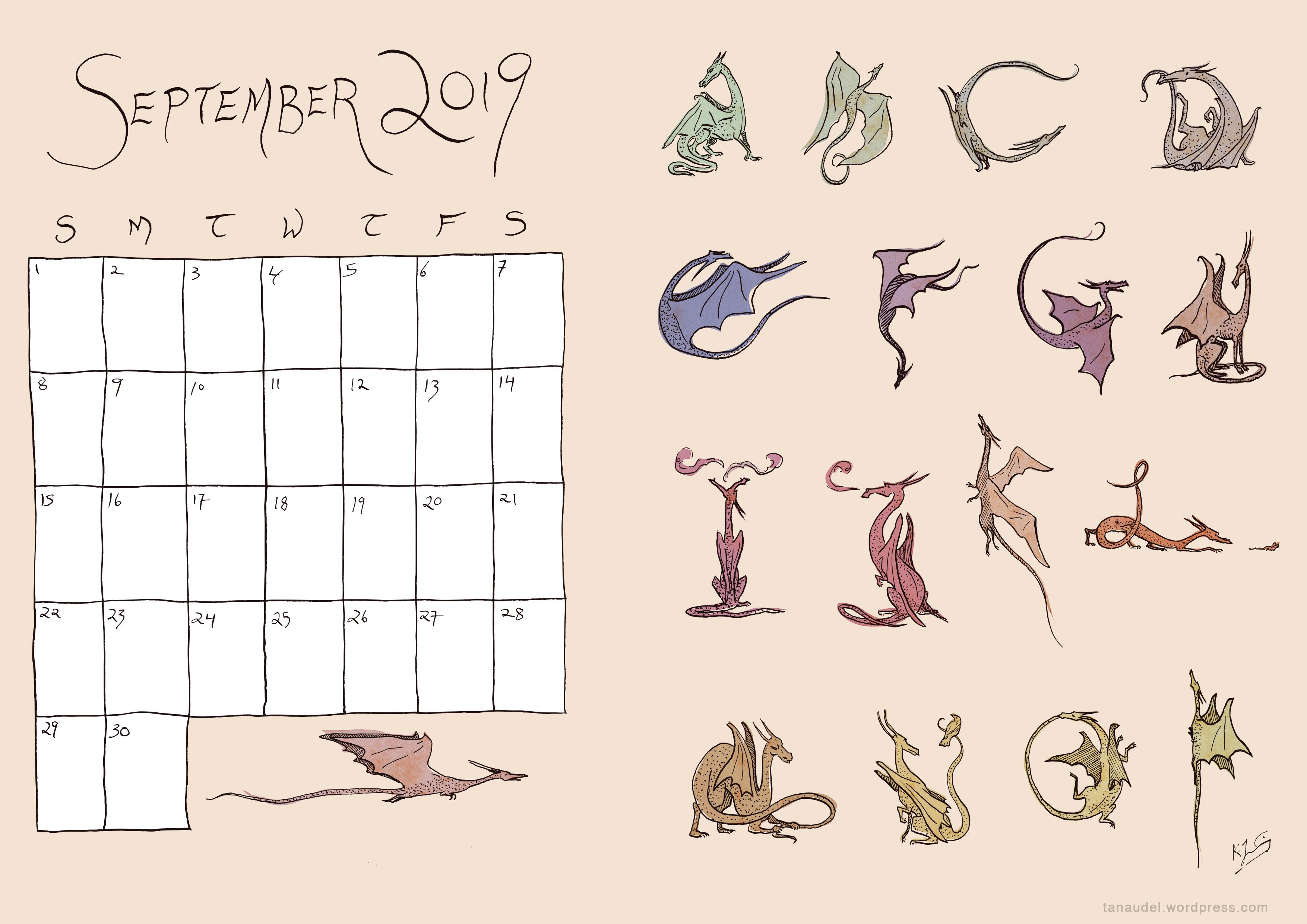 September Calendar Colour