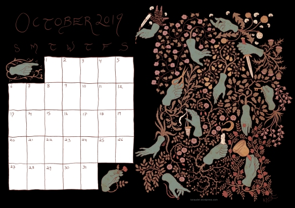 October calendar colour Black blue hands