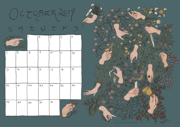October calendar colour Blue pink hands