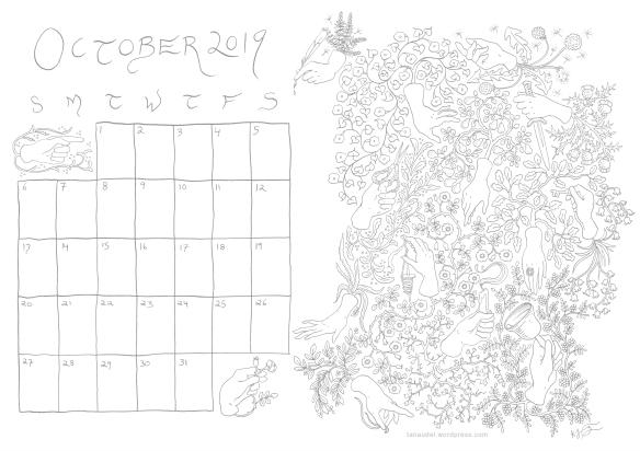 October calendar lines