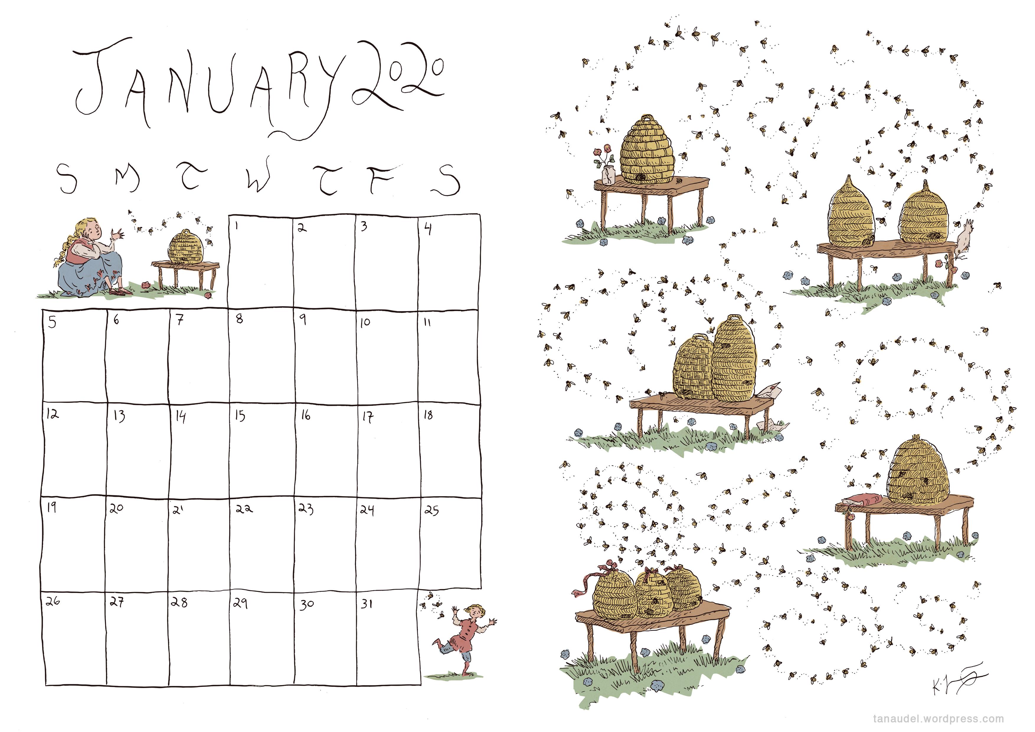 January Calendar - Colour