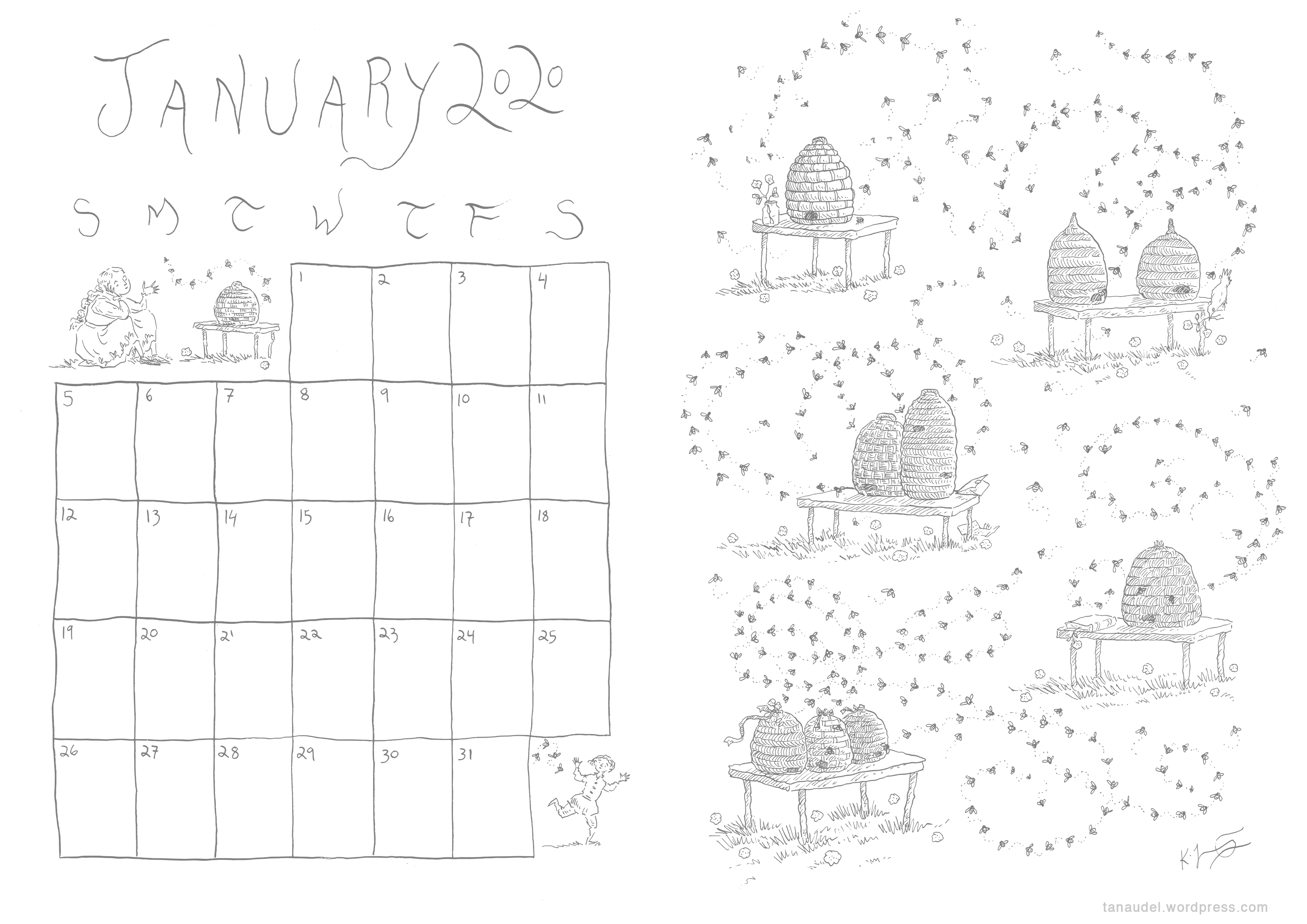 January Calendar - Lines