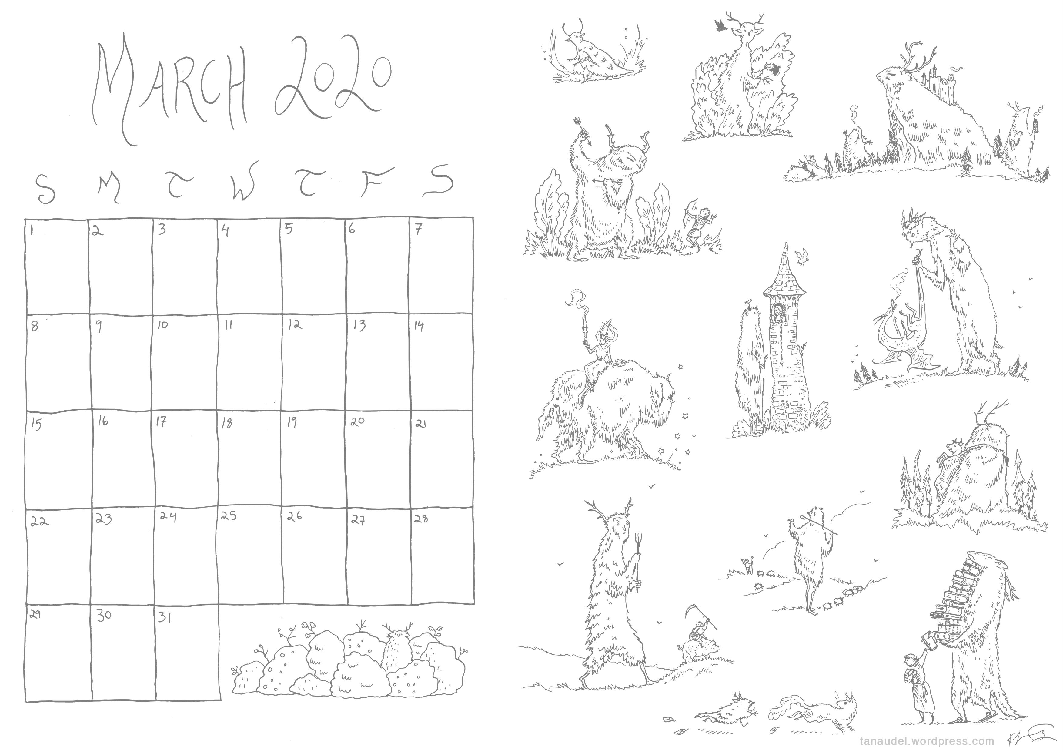 March calendar lines