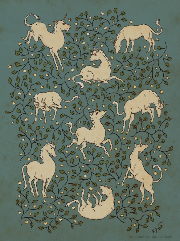 A pattern of unicorns, stars, and vines with small jagged leaves, on a twilight green-blue background