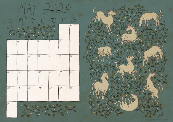 A printable calendar page for May 2020, with a design of unicorns and vines on a starry twilight-blue background.