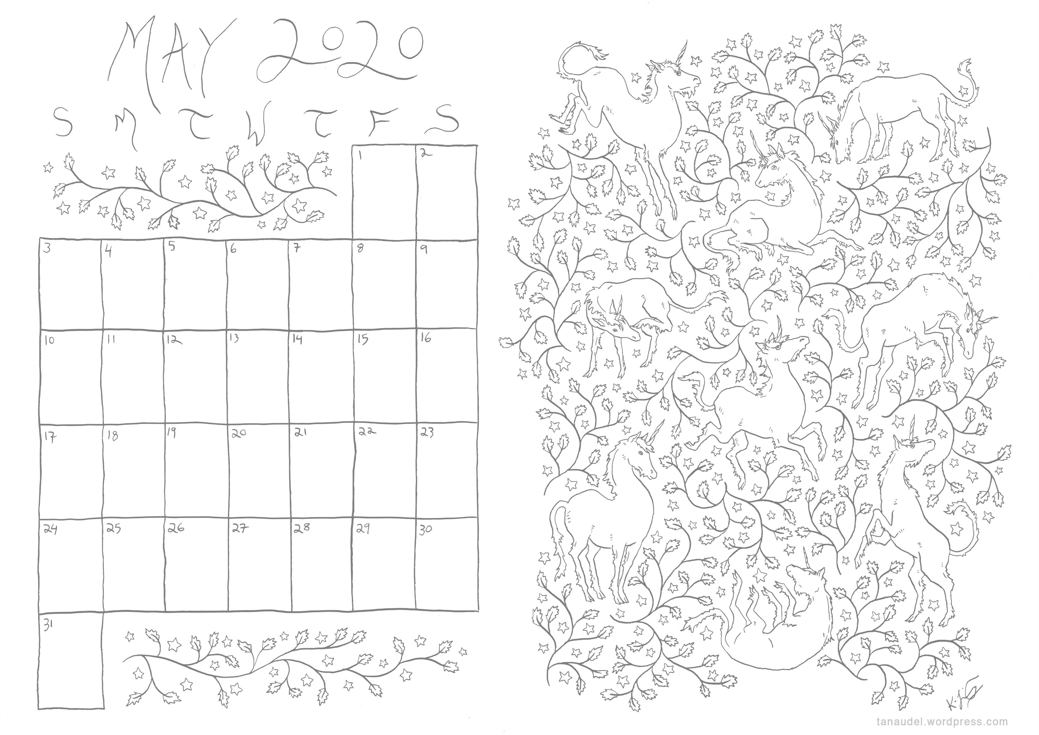 May Calendar - lines