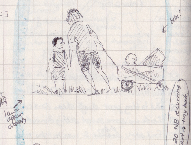 """A sketch of a woman with a child beside her. The woman is pulling a folding cart with a box and a baby in it. There are written notes around it such as """"Box!"""" and """"lawn again already""""."""