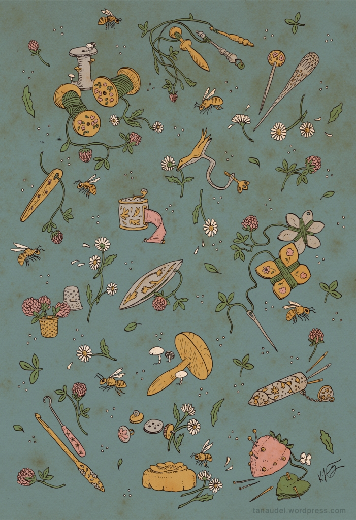 An illustration on a blue background of various sewing implements sprouting cover flowers and daisy chains