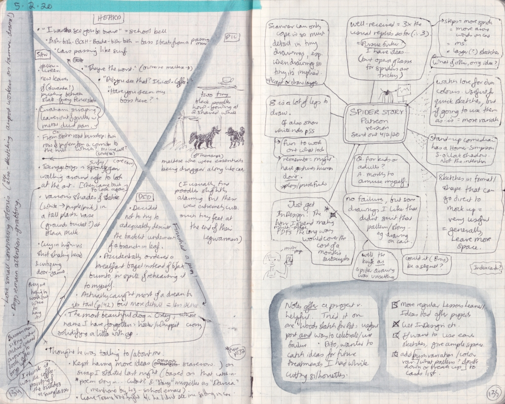 A double-page hand-written observation journal spread.