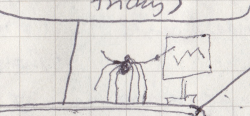 A drawing of a spider gesturing to a whiteboard.
