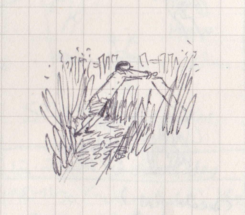A drawing of a man trying to mow very long grass.
