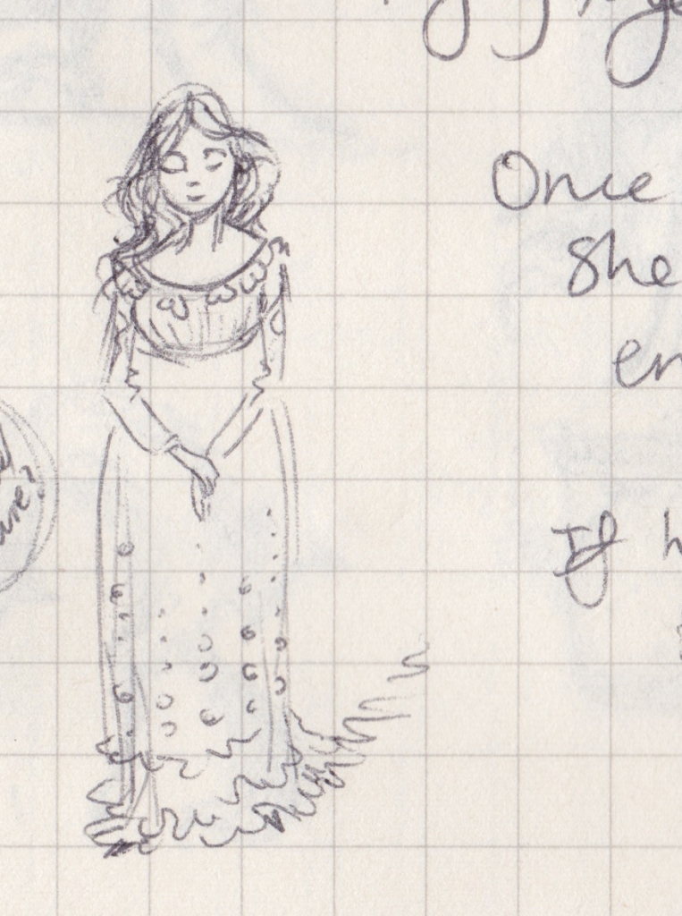 A drawing of a demure princess in a high-waisted dress.