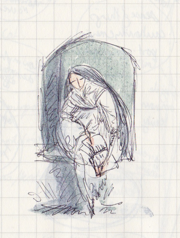 A pen and watercolour sketch, on gridded paper, of a woman reading in an alcove