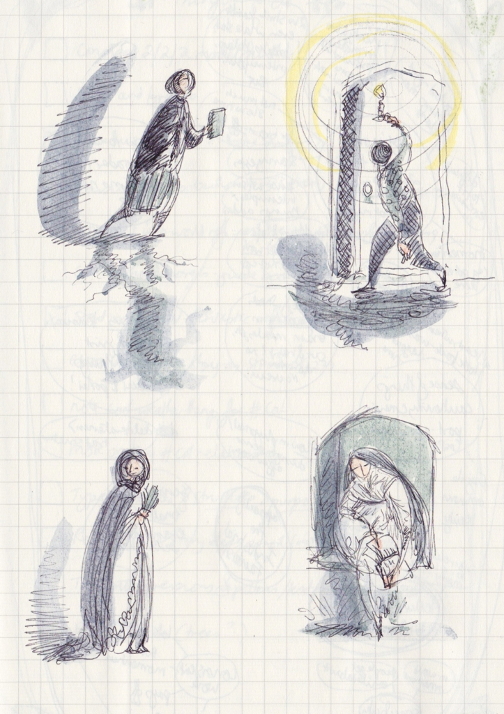 Four pen and watercolour sketches on a gridded journal page: A woman with a book and ominous shadows; A person with a candle looking at an opening chalk-drawn door; A woman in a cloak with a fan; A woman reading in a window embrasure.