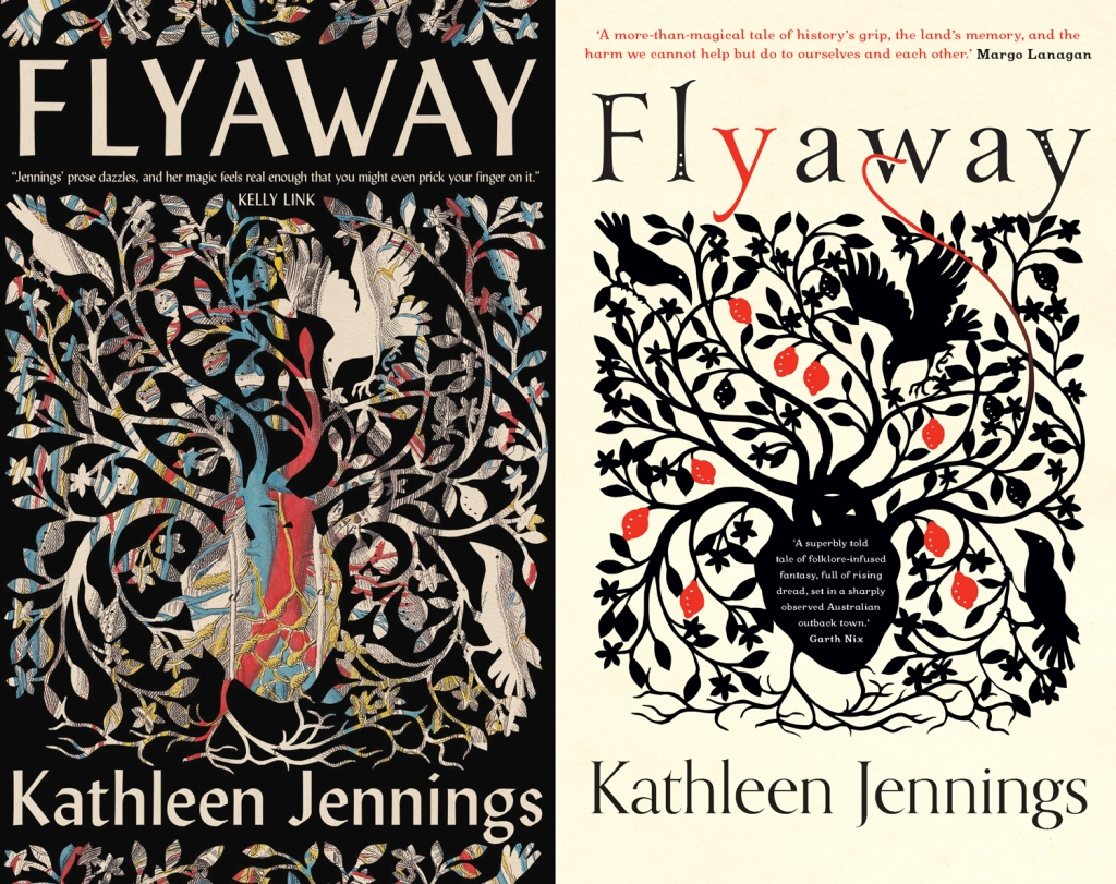 The Australian and US covers of Flyaway, with a pattern of branches and birds growing out of a heart