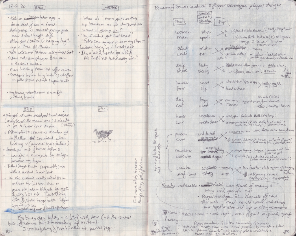 Double page of observation journal, densely handwritten. On the left, 5 things seen, heard, and done that day. On the right, a list of pairs of opposites, each with a one-word associated term, and then a description of each word using its opposite's term as a guide.