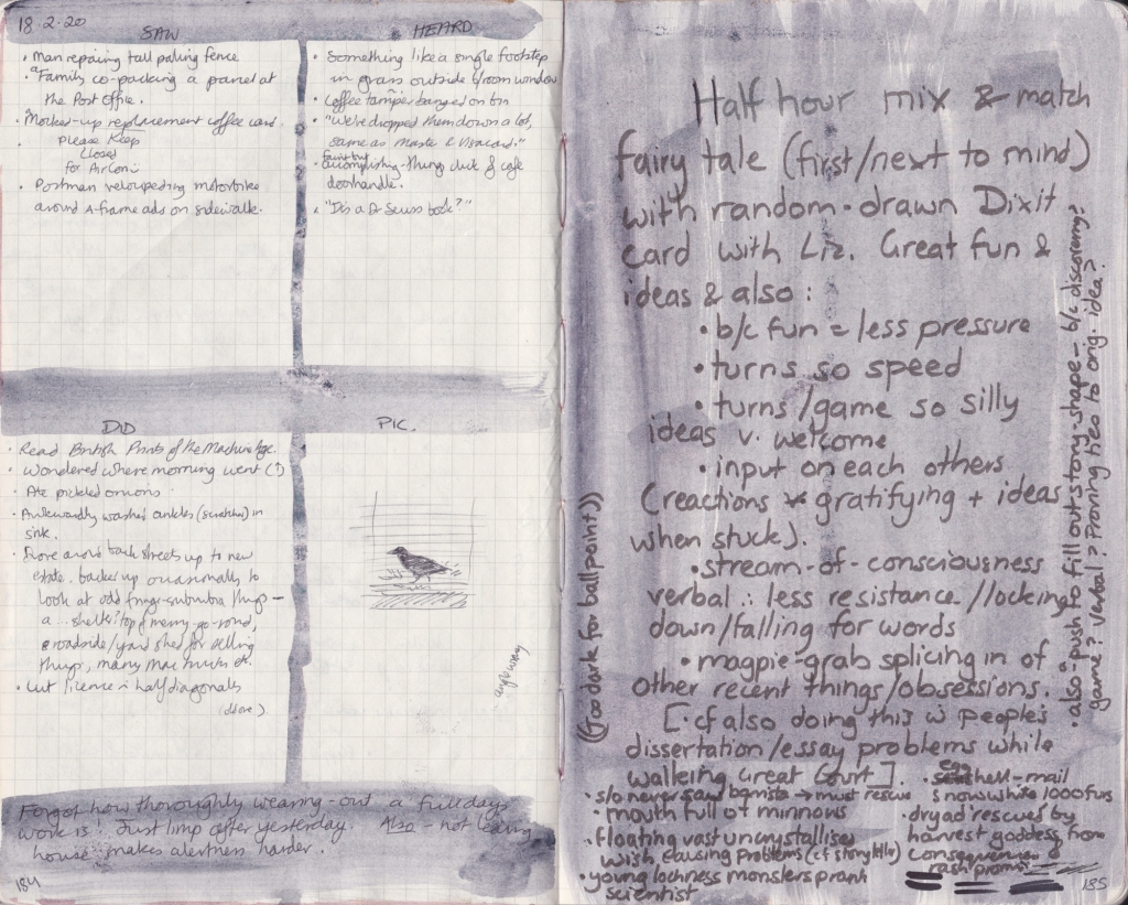 Double page of observation journal, densely handwritten. On the left, 5 things seen, heard, and done that day. On the right, handwritten notes on the benefits of co-inventing stories with the aid of Dixit cards.