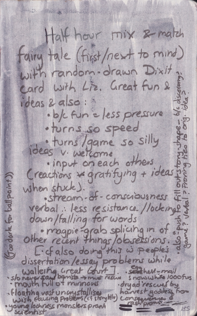 Handwritten notes on the benefits of co-inventing stories with the aid of Dixit cards.