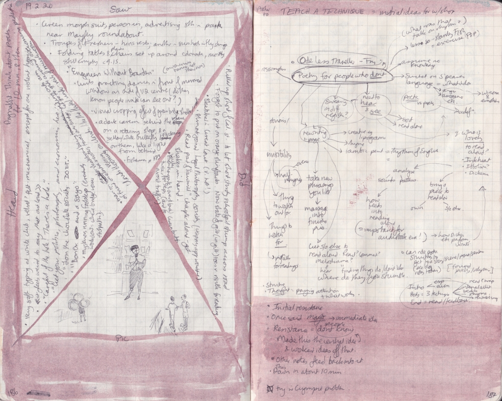 Double page of observation journal, densely handwritten. On the left, 5 things seen, heard, and done that day. On the right, handwritten notes for a poetic writing workshop.