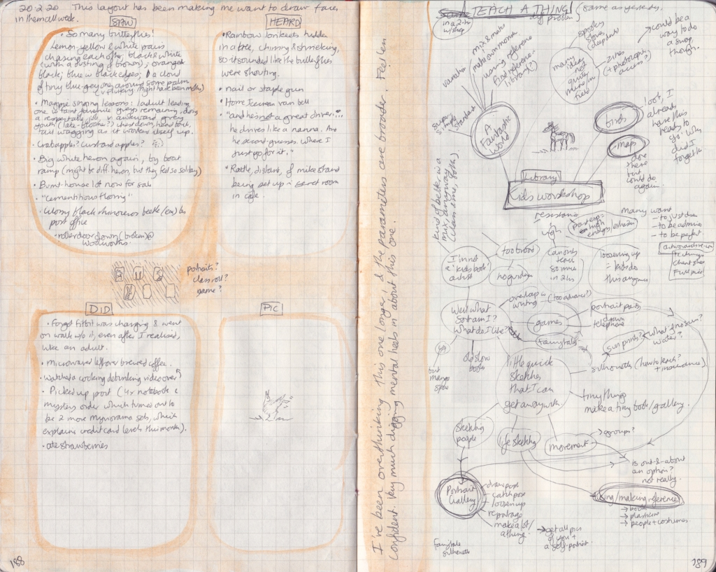 Double page of observation journal, densely handwritten. On the left, 5 things seen, heard, and done that day. On the right, handwritten notes for possible art workshops for kids.