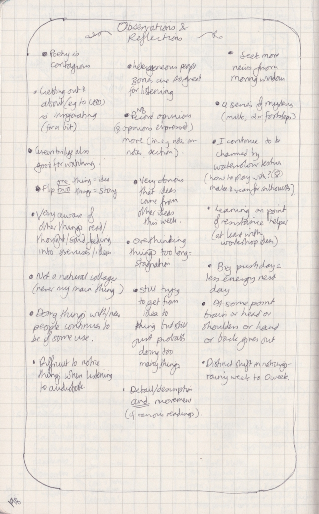 Handwritten page of observation journal, listing many dot point observations and reflections taken from the week's pages
