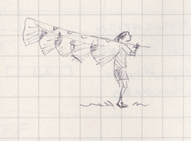 Pen drawing of a person carrying a banner over their shoulder.