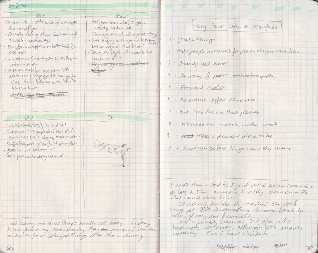 Double page of observation journal, densely handwritten. On the left, 5 things seen, heard, and done that day. On the right, a handwritten manifesto.