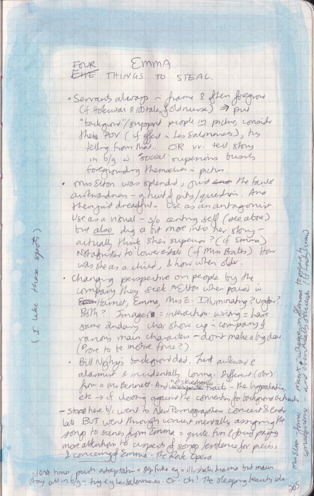 A close-up of the right-hand page of the observation journal, bordered with blue watercolour, and with densely handwritten notes on Emma.