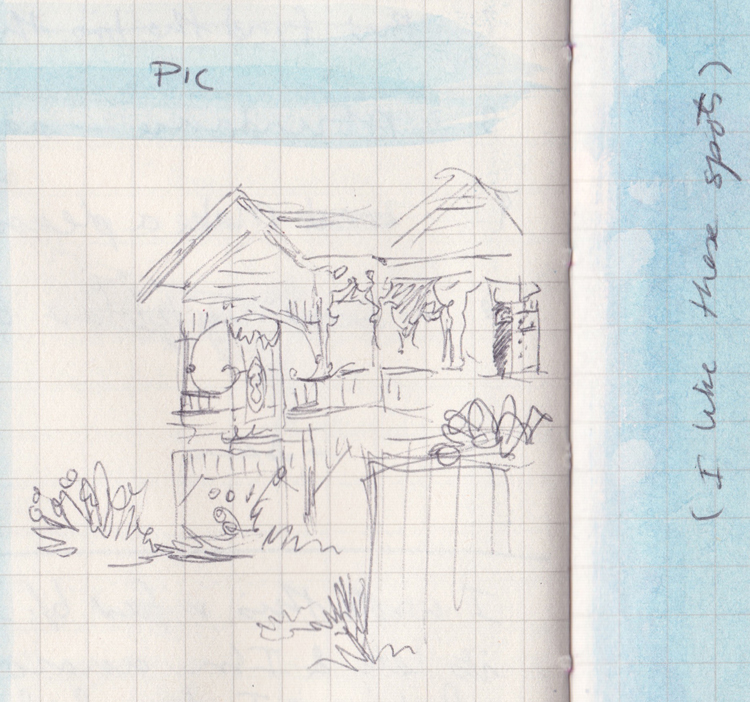 """Pen sketch of a Queenslander house, and some blue watercolour with """"I like these spots"""" written on it."""