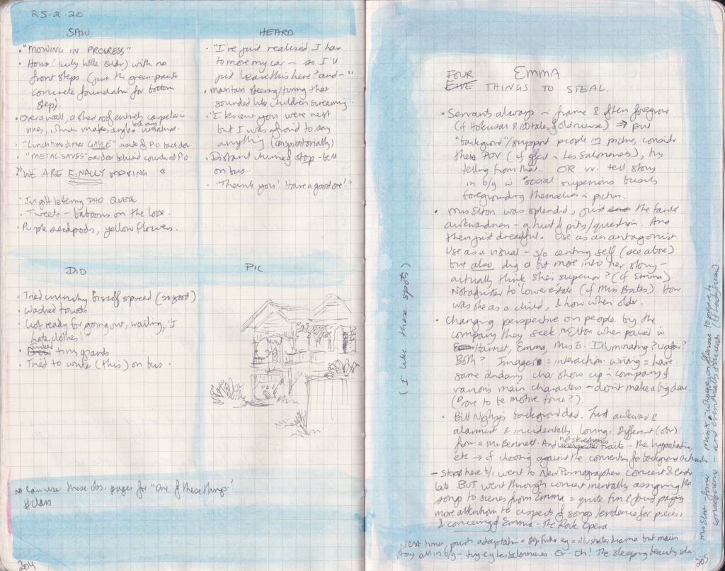Double page of observation journal, densely handwritten. On the left, 5 things seen, heard, and done that day. On the right, densely handwritten notes on Emma.