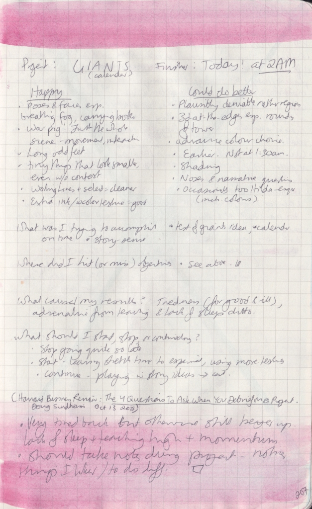 The right page of an observation journal spread, with handwritten notes on what worked and didn't about a project.