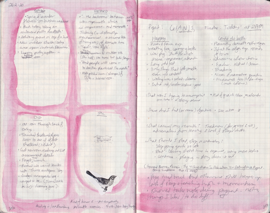Double page of observation journal, densely handwritten. On the left, 5 things seen, heard, and done that day. On the right, handwritten notes on what worked and didn't about a project.